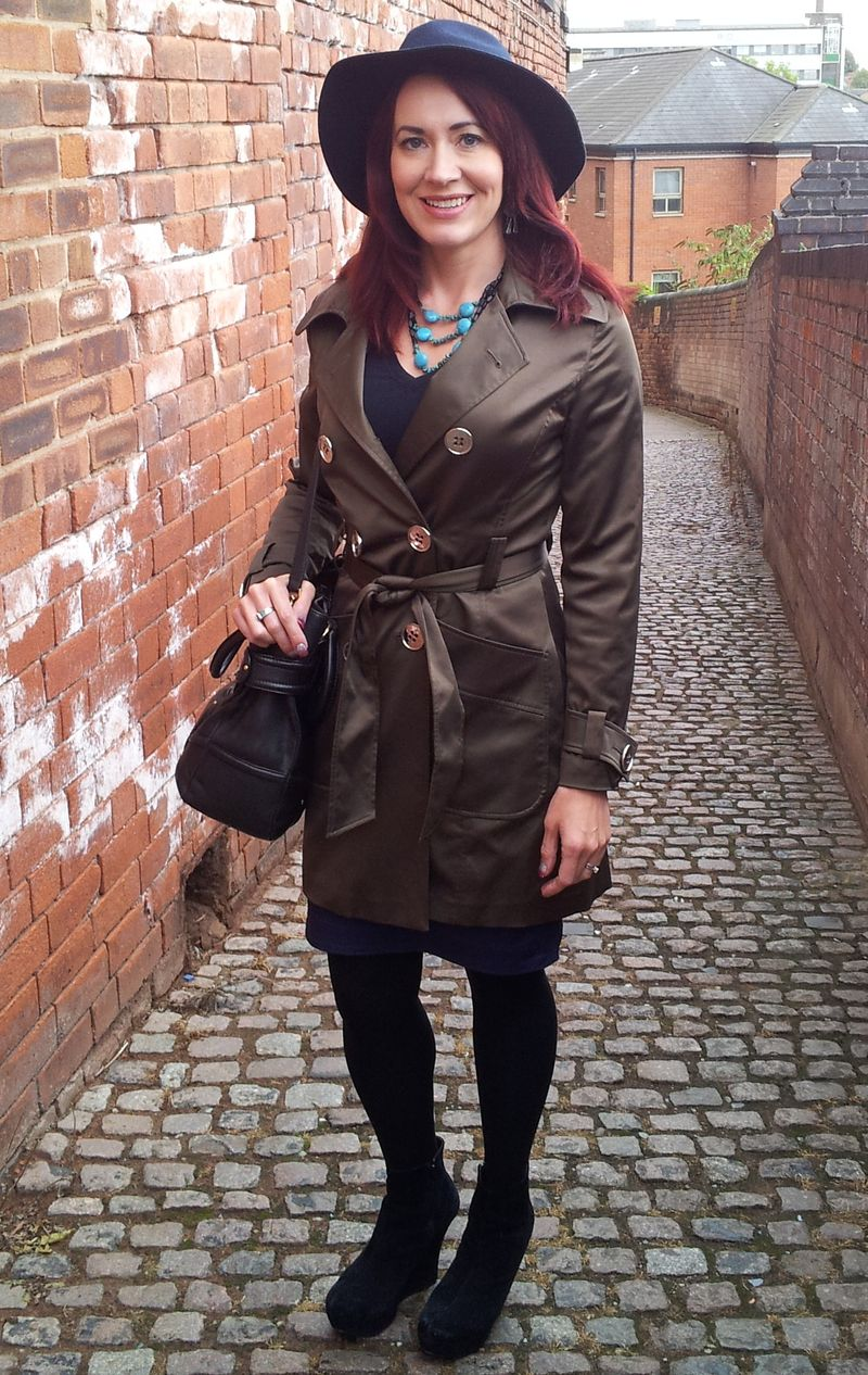 Philosophy Blues Trench Coat and Wide Brim Hat