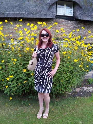 Monochrome Zebra Print Dress With Neutral Accessories