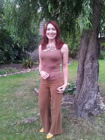Shades of Brown With a Hint of Mustard, Asos brown flared trousers, H&M chunky wooden necklace