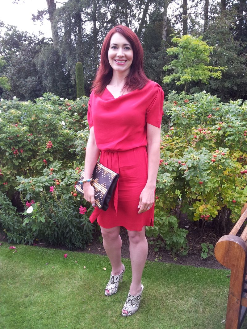 Red Alert: Vivienne Westwood Anglomania Dress and Miu Miu Snake Print Shoes