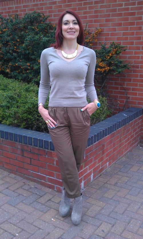 Mellow Mocha: Tan Peg Leg Trousers and Oatmeal Jumper