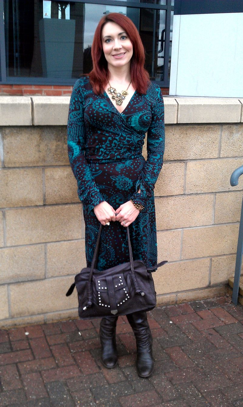 Rise Brown and Green Wrap Dress