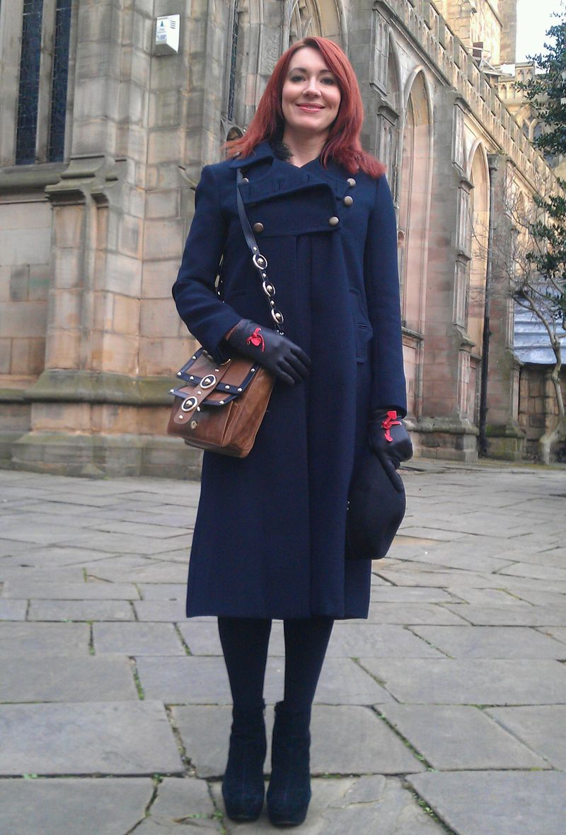 French Connection Military Coat and Temperley London Trinity Messenger Bag