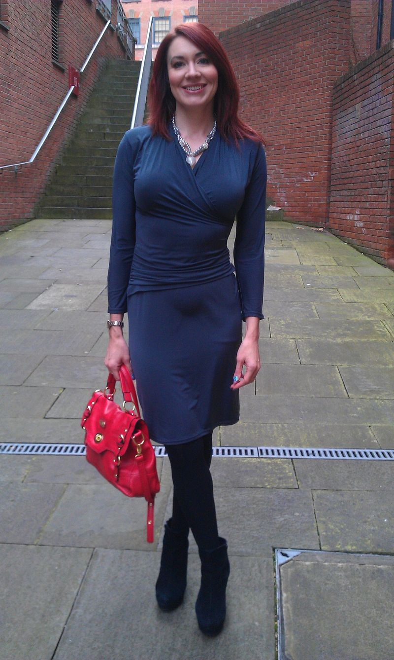 Heart of Glass - Grey Dress and Handmade Necklace